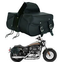 NEW Motorcycle Leather Large Right Left Motorbike Saddle Bags Sportster Pannier