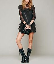 134498 Free People Victor Victorian Embroidered Crochet Lace Tunic Dress XS US