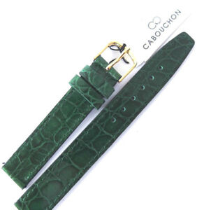 14mm GREEN CABOUCHON CROC GRAIN PATENT LEATHER WATCH STRAP. GOLD OR SILVER