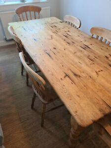 7ft Vintage Pine Farmhouse Table Cutlery Drawer 4 Chairs + 2 Carvers