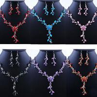 Women Wedding Bridal Jewelry Crystal Rhinestone Necklace Earrings Party Set Hot