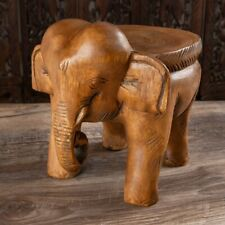 Thailand Hand Carved Wood Stool Chair Zen Seat Zazen Chair Elephant Shapes #2633