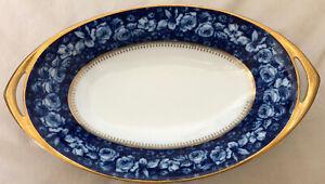 Rosenthal Selb Bavaria Bleu Royal Henkelschale Goldrand 33cm groß Rarität