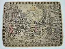 Gerald Jacobs Vtg Arabian Indian Asian Arabian Aladdin Textile Art Swans Women