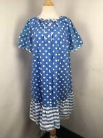 Lindsay Jordan Vintage 80s PLUS 20W Polka Dot Snap Down  Night Robe Blue Muumuu