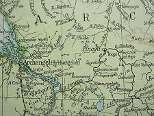 1919 LARGE MAP ~ RUSSIA NORTH EAST ~ ARCHANGEL KOSHVA VIOLOGDA