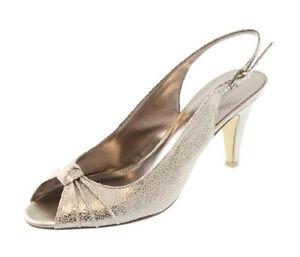 New BANDOLINO D'orsay Women Textile Pump Heel Peep Toe Slingback Shoe Sz 11 M