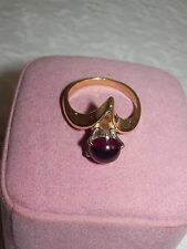 14k gold rhodolite garnet 1ct approx.solitaire round cabochon ring size 6.5