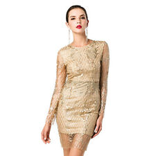 Women Sexy O-neck halter long sleeve backless sequin embroidery mini dress 4665