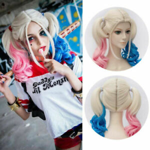 Adult Kids Cosplay Harley Quinn Wigs Suicide Squad Cosplay Halloween Fancy Dress