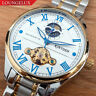 NEW Mens Flywheel Skeleton Automatic Wind Mechanical Move Moon Phase Wrist Watch