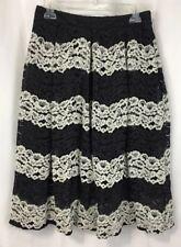 Who What Wear Women's Size 4 Lace Midi Skirt Black/White