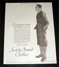 1926 OLD MAGAZINE PRINT AD, SOCIETY BRAND CLOTHES, SMART GOLF SUIT, FASHION ART!