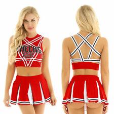 Cheer leader School Girl Crop Top Pleated Skirt Uniform Party Fancy Costume #M