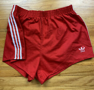 Vintage Adidas Trefoil Cotton Polyester Track Shorts Red XL Made In USA 3 Stripe