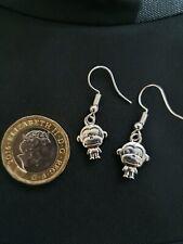 Cool Small Happy Animal Monkey Zoo Pet Earrings Tibetan Silver