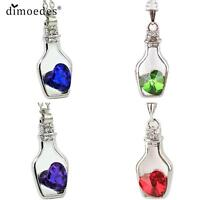 Heart In A Crystal Bottle Silver Necklace Chain Pendant Ladies Valentines Day
