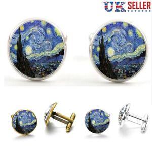 Starry Night Cufflinks - Vincent van Gogh Art Funky Cuff Links Cool Gift - UK