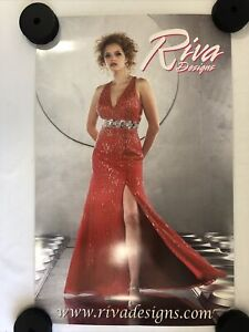 """Riva Designs Advertising Poster 25"""" x 18"""" Excellent Condition Red Dress"""