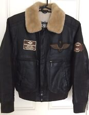 Men's Brown Leather Bomber Jacket Aviator Style, Size S