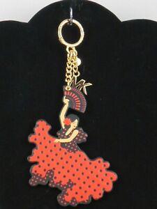 Michael Kors BARCELONA Scarlet FLAMENCO DANCER Vegan Faux Leather Key Fob $78