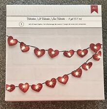 American Crafts Love Heart Light String 4 yds - Red Glitter Hearts - New!