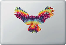 "CLR:MB - Rainbow Tie Dye Owl - Vinyl Macbook Laptop Decal © YYDC (8""w x 5.5""h)"