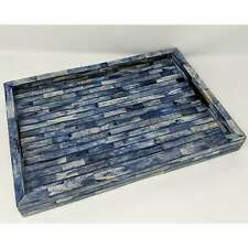 Handmade Bone Inlay bricks Blue Serving Tray