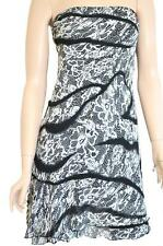 MISS ME SZ M WOMENS Black & White Floral Asymmetrical Hem Short Strapless Dress