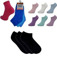 3 Pairs Womens Ladies Girls Socks Longer Length Trainer Ankle Sport Sock Black