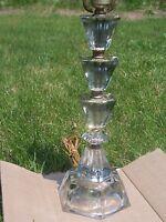 Vintage Leaded Glass Mid Century Hollywood Regency Cut Glass Lamp Deco