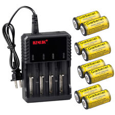 8Pcs CR123A 3.7V 16340 1800Mah Rechargeable Lithium Battery + 4 Slot Charger