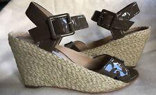 Diane von Furstenberg patent leather Sudan Espadrille Wedge Sandals US7.5M