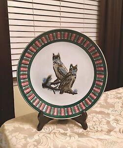 Beautiful Vintage Owl Owls Decorative Porcelain Collectible Plate