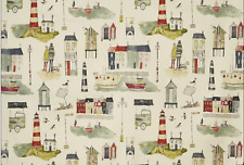 BLACKOUT MTM ROMAN BLIND PRESTIGIOUS SEASIDE LIGHTHOUSE STONE GREEN BLUE GREY