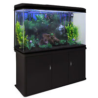 Fish Tank Aquarium Complete Set Up Tropical Marine Black Cabinet 4ft 300 Litre