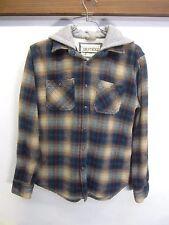 vtg Gramicci Work Shirt flannel plaid snap front sweatshirt hooded sz S