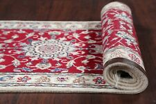 Charming Wool/Silk Floral 2x10 ft Red Runner Nain Rug Oriental hand-made Carpet