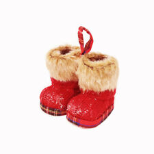 Knitted Red Wool Boots Hanging Christmas Decoration 8cm/3 Inches