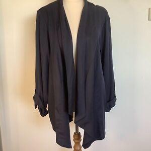 Suzanne Grae Women's Waterfall Open Cardigan Size XL Blue Lyocell NEW