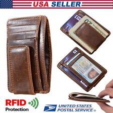 Mens Slim Wallet Genuine Leather Money Clip Front Pocket ID Card RFID Blocking