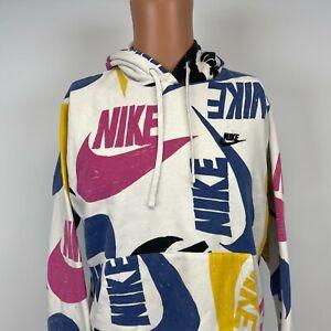 Nike Swoosh All Over Logo Print Hoodie Sweatshirt White Mens Size S