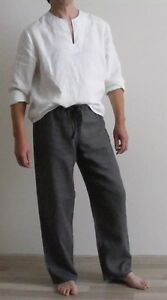 Mens Linen Lounge Pants / Pajamas pants / Yoga pants / Pyjamahose / Sleepwear /