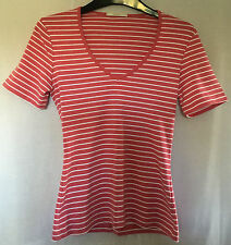 M&S Ladies V Neck Pink & White Stripe Cotton T Shirt, size 8