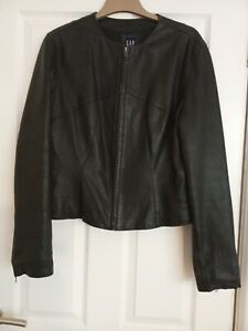 Gap Size L Womens Black Leather Jacket 12/14 fit