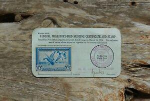 RW1 Form 3333 1934 Federal Duck Stamp Dallas Texas Hunting Permit License