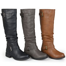 Journee Collection Womens Wide And Extra Wide Calf Slouchy Buckle Boots New