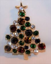 Rhinestone Christmas Tree Pin Brooch-Multi Colored-Signed Napier-New