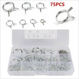75Pcs Φ7-Φ22 Car Dual Wire Fuel Line Hose Tube Spring Clamps Stainless Steel