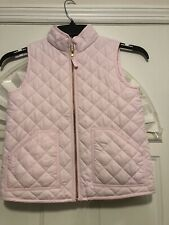 J. Crew Crewcuts Girl's Soft Pink Zip Fronted Quilted Puffer Vest, Size 8 EUC